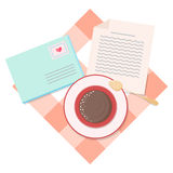 Envelope letter and Coffee cup Royalty Free Stock Photography