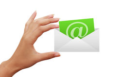 Envelope letter e-mail in hand Royalty Free Stock Photo