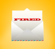 Envelope with letter. FIRED. Envelope with letter on a yellow background Royalty Free Stock Image