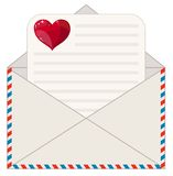 Envelope with a Letter in the Form of Valentines. Stock Photo