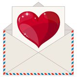 Envelope with a Letter in the Form of Valentines Royalty Free Stock Photo