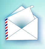 An envelope with a letter on a light background. Vector mailing envelope with the sent.  Royalty Free Stock Images