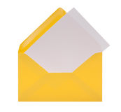 Envelope with letter-paper and clipping path Royalty Free Stock Photos