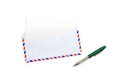 Envelope, letter and pen. Envelope, letter with blank Brown paper and pen on white background stock image