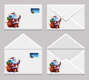 Envelope with letter picture of Santa Claus. Envelope with a letter with a picture of Santa Claus. Happy New Year. Merry Christmas. Vector. Icon Stock Photography