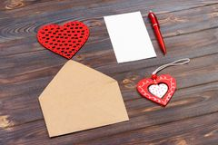 Envelope or letter, red hearts and notes. Valentines Day note with copyspace. Valentine day concept with copyspace.  Royalty Free Stock Photo