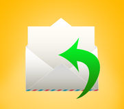 Envelope with letter. REPLY. Envelope with letter on a yellow background Royalty Free Stock Photography