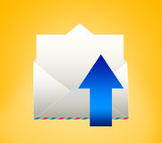 Envelope with letter. SEND. Envelope with letter on a yellow background Stock Photography