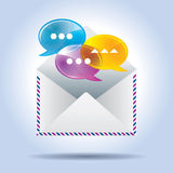 Envelope letter and speech bubbles Royalty Free Stock Image
