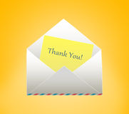 Envelope with letter. Thank You. Envelope with letter on a yellow background Royalty Free Stock Image