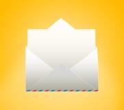 Envelope with letter. Envelope with letter on a yellow background Royalty Free Stock Image