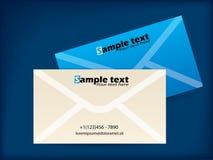 Envelope like business card designs. On blue background Stock Image