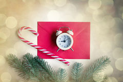 Envelope and little alarm clock Royalty Free Stock Photos