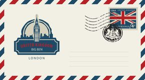 Envelope with London Big Ben and flag of uk. Vector envelope with London Big Ben, a postage stamp with flag of United Kingdom and rubber stamp in form of royal Stock Photo