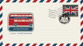 Envelope with London doubledecker and flag of uk. Vector envelope with London doubledecker, a postage stamp with flag of United Kingdom and rubber stamp in form Stock Images