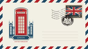 Envelope with London telephone booth and uk flag. Vector envelope with London telephone booth, a postage stamp with flag of United Kingdom and rubber stamp in Stock Photos