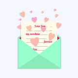 Envelope with Love Letter and Hearts Flying Around. Royalty Free Stock Photo