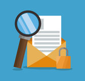 Envelope with lupe and seo design Stock Image