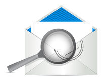 Envelope with magnify glass in front Royalty Free Stock Photo