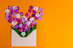 Envelope Mail, Blue cover with many little flowers on orange Background. Valentine Day Card, Love or Wedding Greeting. Concept, Empty space Royalty Free Stock Photography