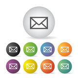 Envelope mail button set Royalty Free Stock Image