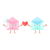 Envelope mail cartoon character heart Royalty Free Stock Photography