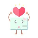 Envelope mail cartoon character heart. Envelope mail letter smiling character heart love Stock Photography
