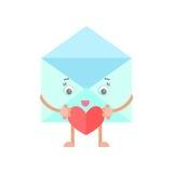 Envelope mail cartoon character heart. Envelope mail letter smiling character heart love Royalty Free Stock Photos