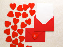 Envelope Mail and Hearts on decorative background. Valentine Day Card, Love or Wedding Greeting Concept. Top view Royalty Free Stock Photo