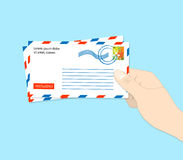 Envelope mail hold hand flat.  Stock Photos