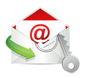 Envelope mail with key - security concept Stock Photo