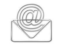 Envelope and mail  (@) symbol. White background Stock Photos