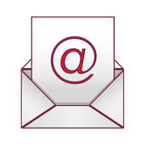 Envelope with mailing sheet and at sign. Illustration Stock Photography
