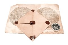Envelope, map and compass Stock Images