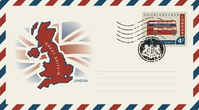 Envelope with map and flag of Great Britain Stock Photography