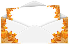 Envelope with maple leaves. On a black background royalty free illustration