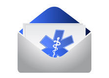 Envelope with medical symbol illustration Royalty Free Stock Photography