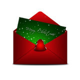 Envelope with merry christmas card over white background Stock Images