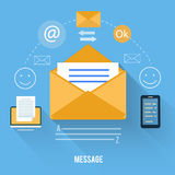 Envelope with message and email technology Stock Photos