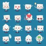 Envelope message emojji character emotions face vector illustration. Letter paper envelope cartoon character emotion face illustrations collection. Comic stock illustration