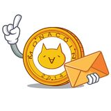 With envelope Monacoin character cartoon style. Vector illustration Stock Images