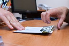 Envelope with the money. Is transferred as a bribe Royalty Free Stock Photography