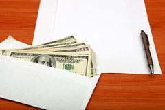Envelope with a Money and Empty Paper Stock Images