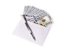 Envelope with a Money and pen. Hundred dollar bills are in an open envelope, top pen isolated on white background Stock Photo
