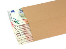 Envelope with money on a white background. Royalty Free Stock Photos