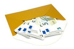 Envelope with money on white background Stock Images