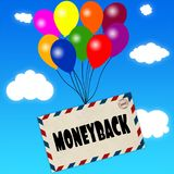Envelope with MONEYBACK message attached to multicoloured balloons on blue sky and clouds background. Illustration Royalty Free Stock Photo