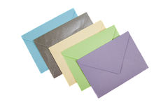 Envelope. Multicolored letters isolated on white background stock photo