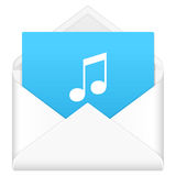 Envelope with music symbol Royalty Free Stock Photo