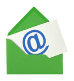 Envelope and note with @ Royalty Free Stock Photos